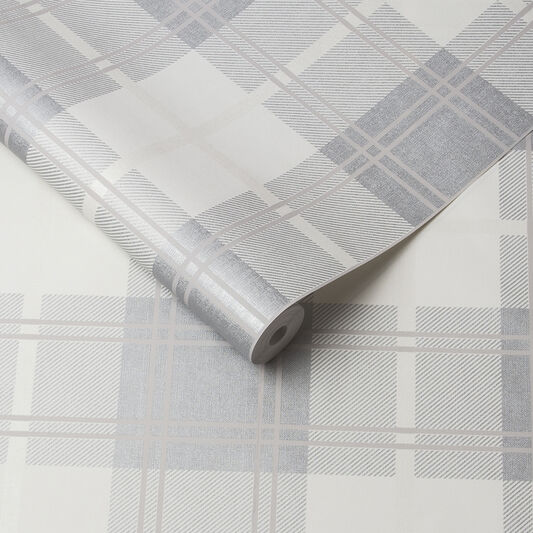 Tartan White Wallpaper, , large