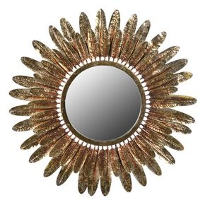 Feather Fringed Gold Mirror, , large