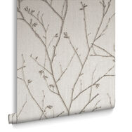 Water Silk Sprig Ivory Wallpaper, , large