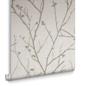 Water Silk Sprig Ivory Behang, , large