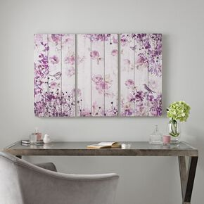 Birds And Butterflies Print On Wood Wall Art , , large