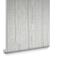 Neutral & Duck Egg Jute Wallpaper, , large