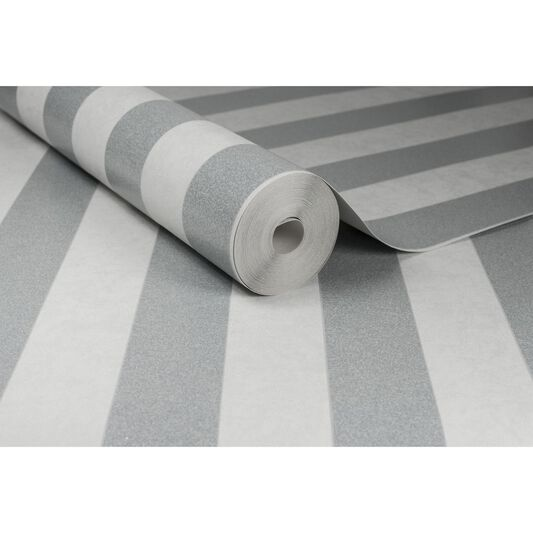 Helen Glitter Stripe Silver & White Wallpaper, , large