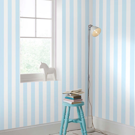 Pastel Blue Stripe Wallpaper, , large