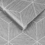 Grasscloth Geo Gray Wallpaper