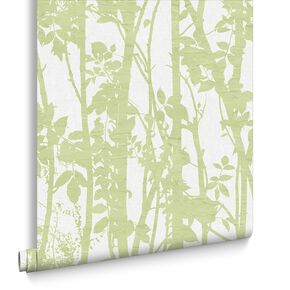 Fabric Branches Green Wallpaper, , large