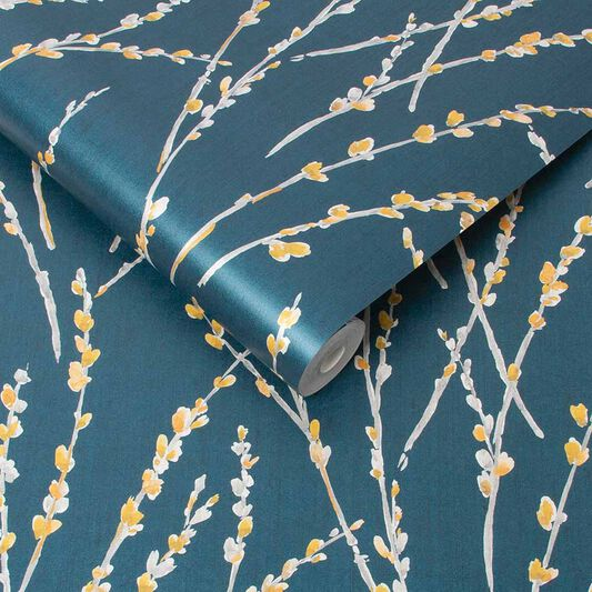 Floret Teal Wallpaper, , large