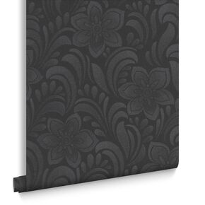 Jacquard Floral Charcoal Behang, , large