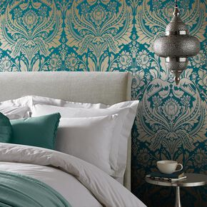 Desire Teal Gold Wallpaper, , large