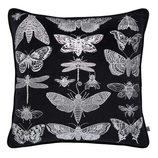 Gothic Bugs Black & Silver Cushion, , large