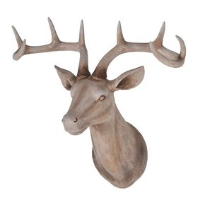 Large Wood Effect Stags Head, , large
