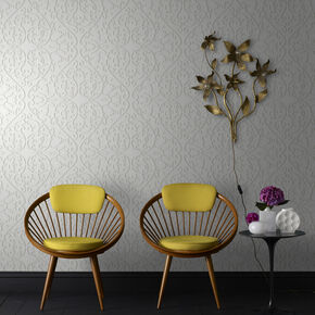 Heart and Tulip Birch Wallpaper, , large