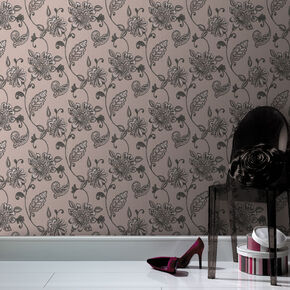 Juliet Black and Mushroom Wallpaper, , large