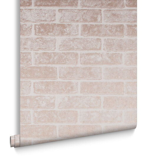Metallic Brick Rose Gold White Wallpaper, , large