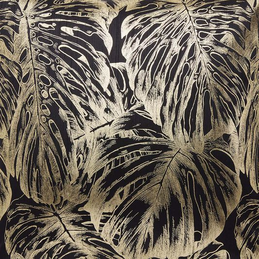 Tropical Leaves Black & Gold Pillow , , large