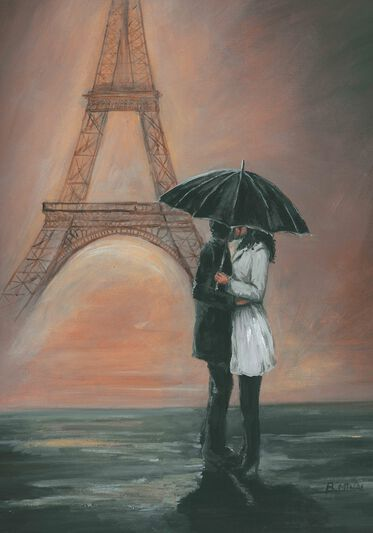 Kissing In Paris Printed Canvas, , large