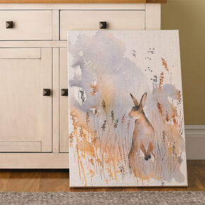 Meadow Hare Fabric Canvas Wall Art, , large