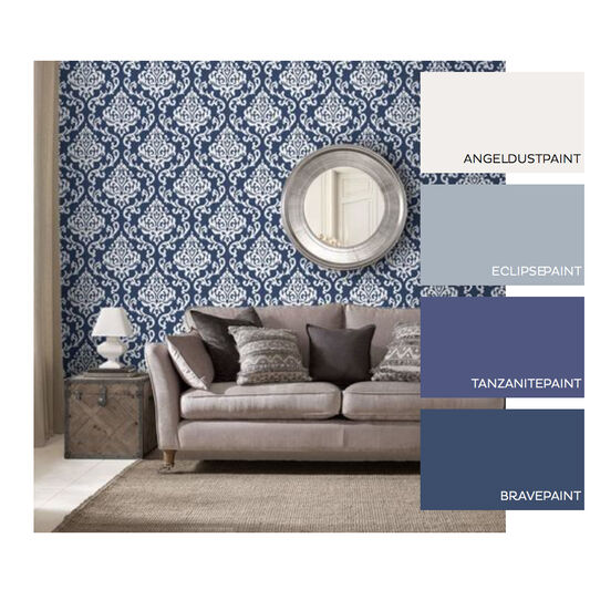 Indian Ink Damask Royal Blue Wallpaper, , large