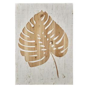 Tropical Leaf Impression auf Holz, , large