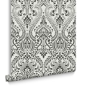 Glamour Damask Black and White Wallpaper, , large