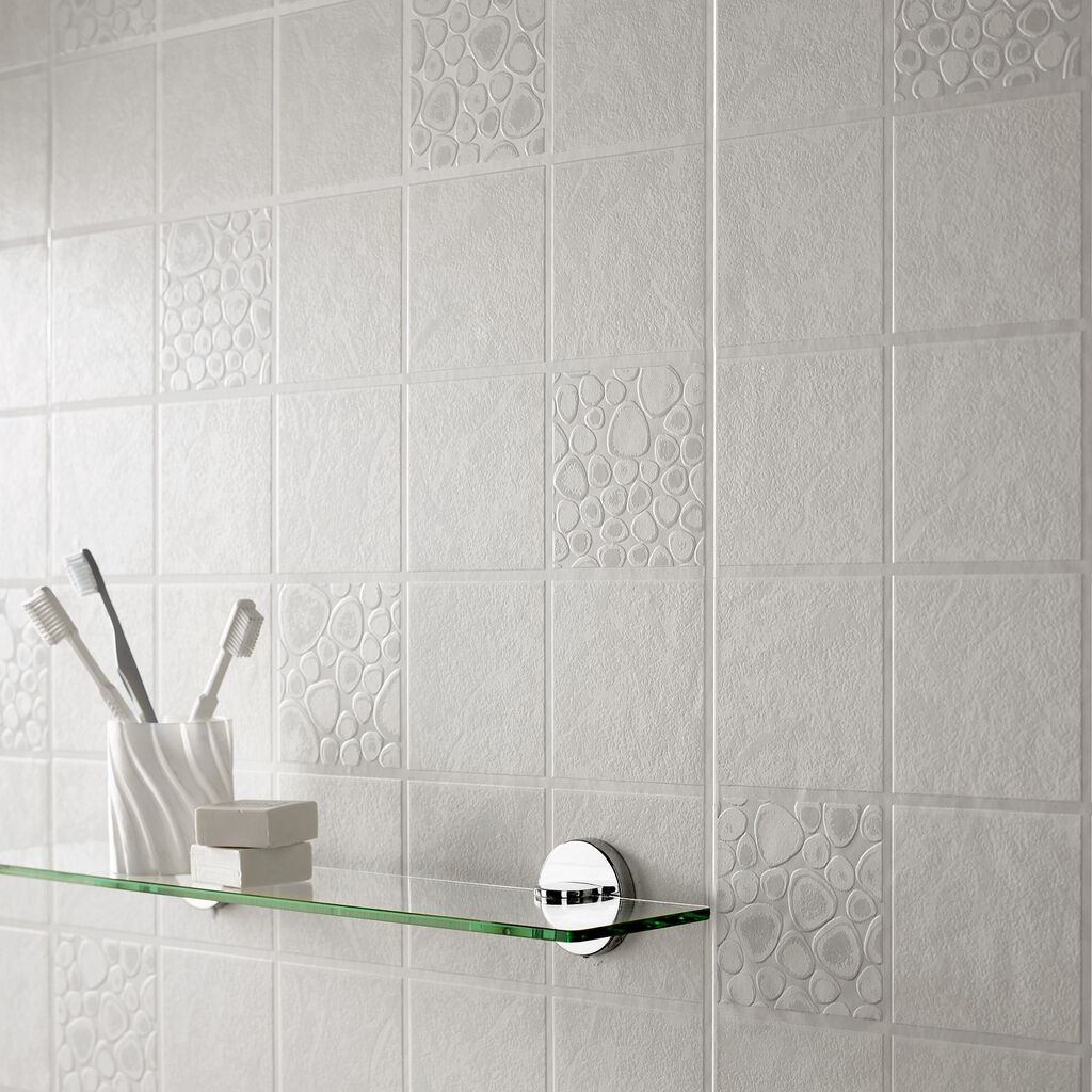 Pebbles tile graham brown for Can you wallpaper over tiles