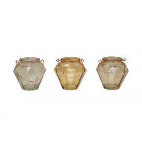 Set of 3 Grey and Brown Candle Holders with Copper Handles, , large