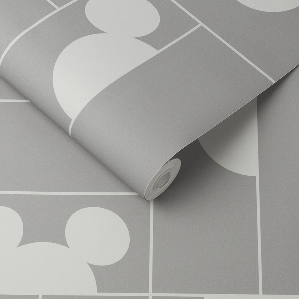 Mickey Mosaic Grey Wallpaper, , large