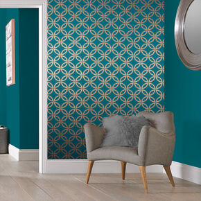 Eternity Teal and Copper Wallpaper, , large