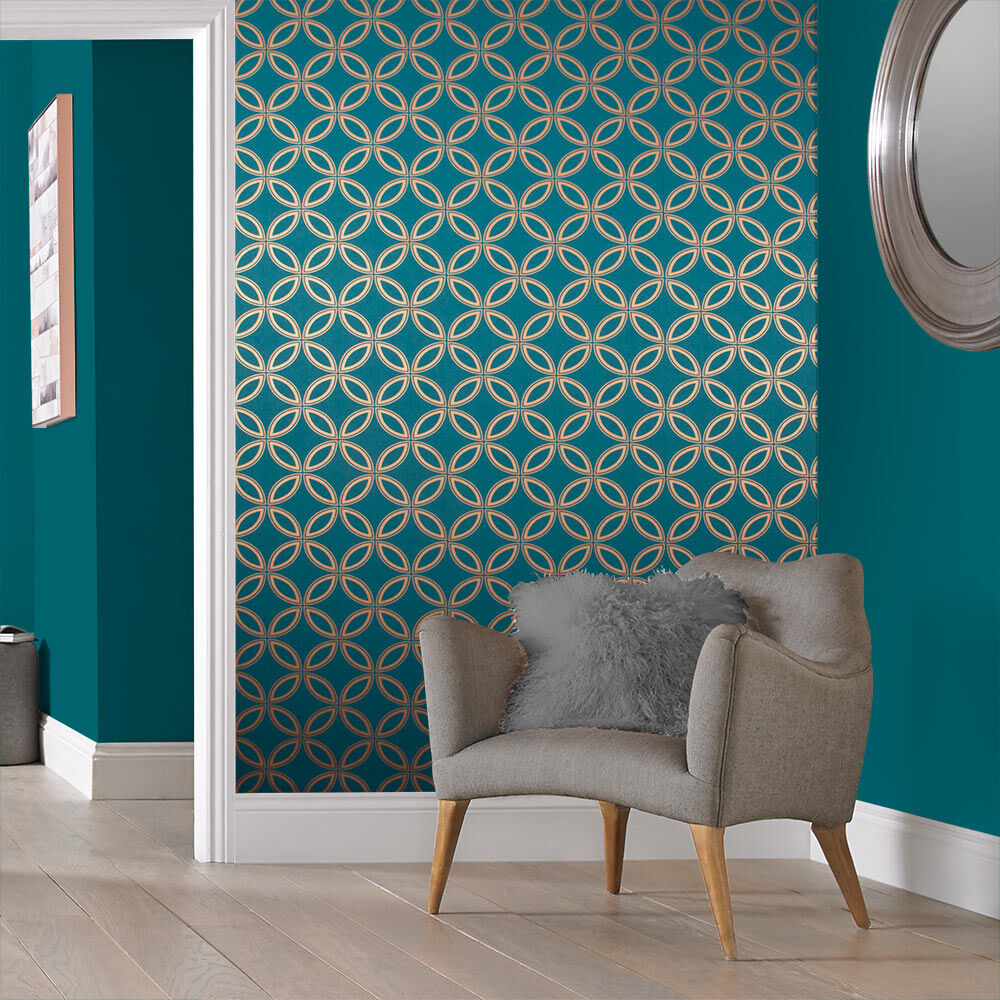 ... Large Eternity Teal And Copper Wallpaper, ...