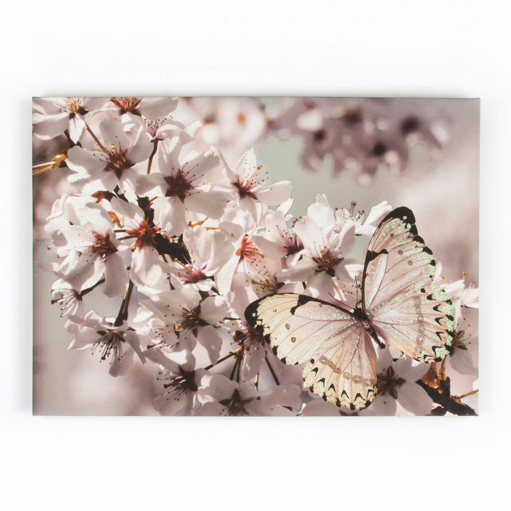 Butterfly Branch With Glitter Printed Canvas Wall Art, , large