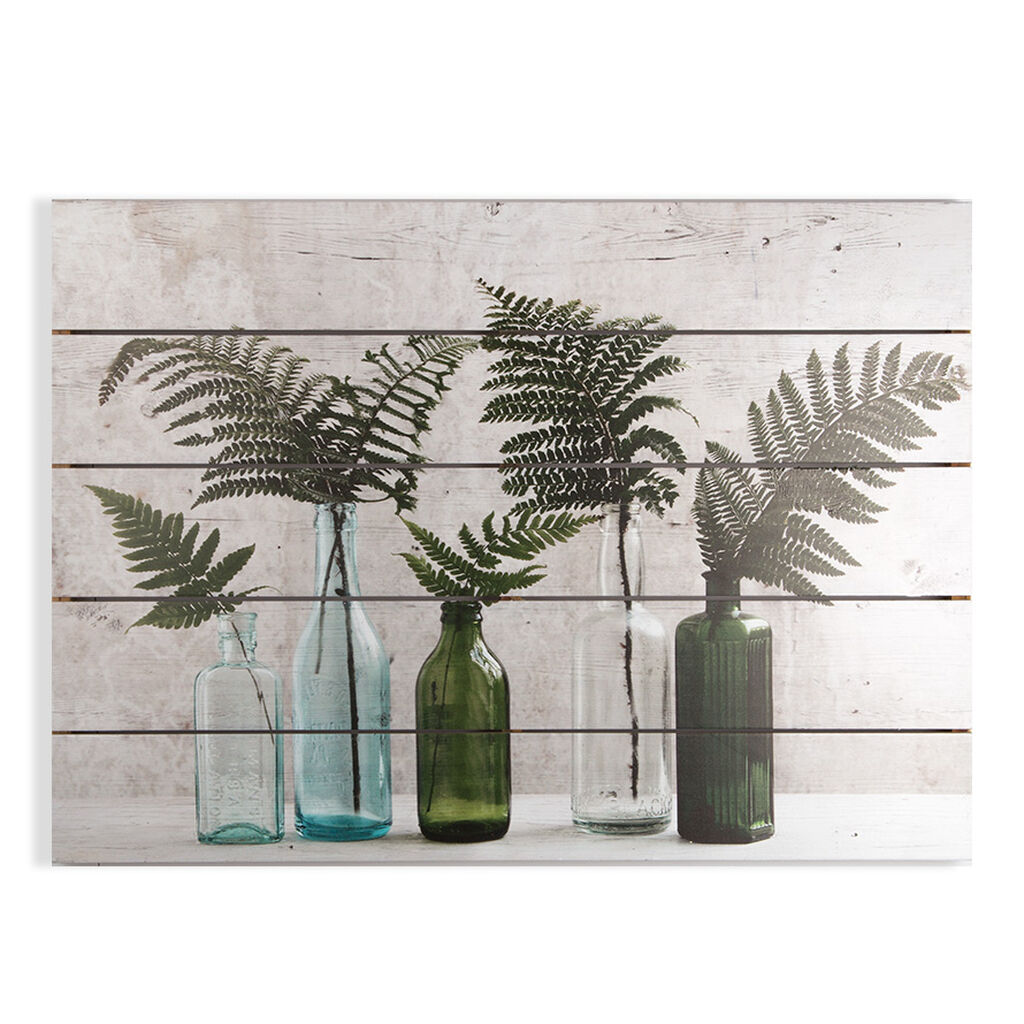 Botanical Bottles Print On Wood Wall Art, , large
