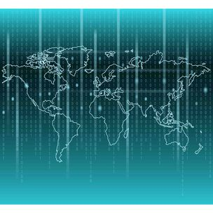 Binary Code World Map Wall Mural, , large