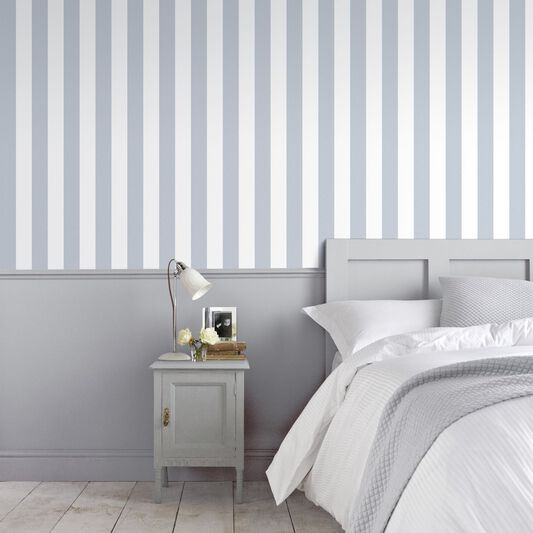 Helen Glitter Stripe Lilac & White Wallpaper, , large