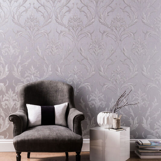 Oxford silver and grey wallpaper vinyl wallpaper graham brown for Silver wallpaper living room