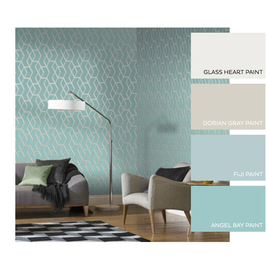 Archetype Mint & White Gold Wallpaper, , large