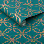 Eternity Teal and Copper Wallpaper