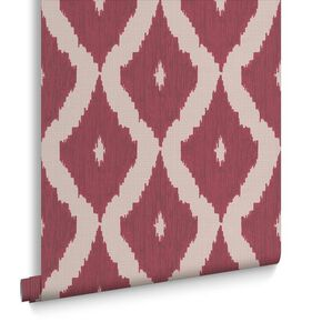 Kelly's Ikat Taupe and Carmine Wallpaper, , large