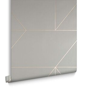 Geo Gray and Rose Gold Wallpaper, , large