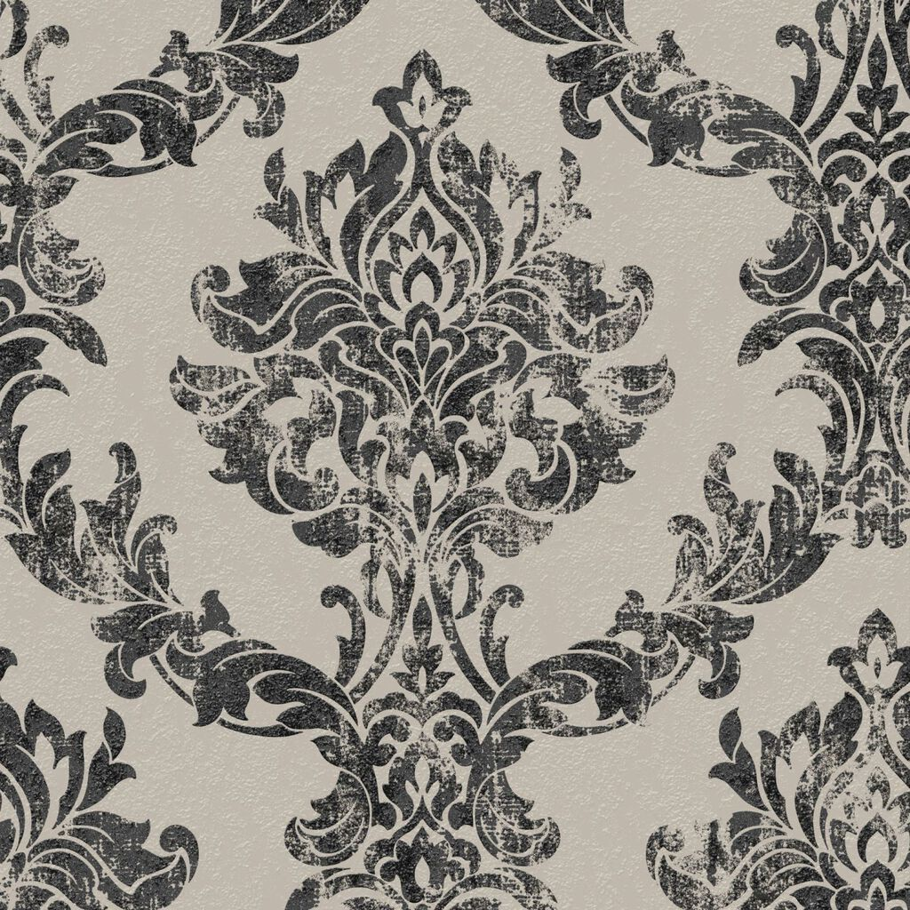 Opal Damask Charcoal and Gold Wallpaper, , large