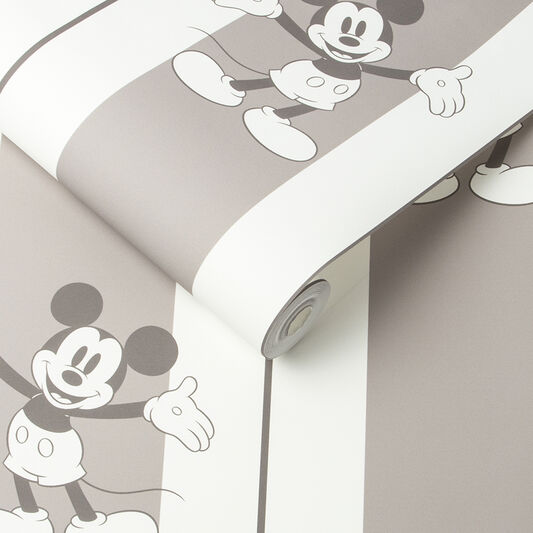 Mickey Pinstripes Taupe Wallpaper, , large