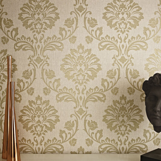 Aurora Beige and Gold Wallpaper, , large