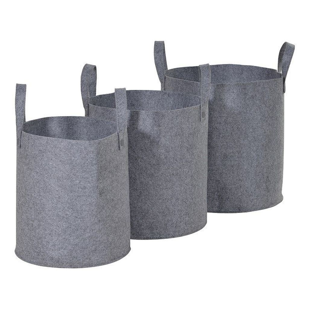 Set of 3 Grey Felt Storage Baskets, , large