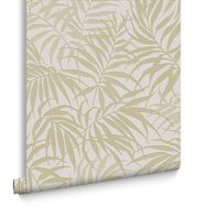 Papier Peint Tropic Beige Et Or, , large