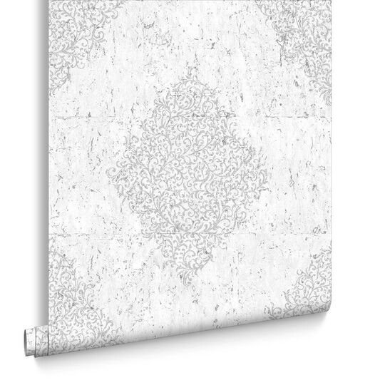 Light Gray & Silver Cork Medallion Wallpaper , , large
