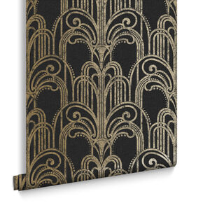 Art Deco Black and Gold Wallpaper, , large
