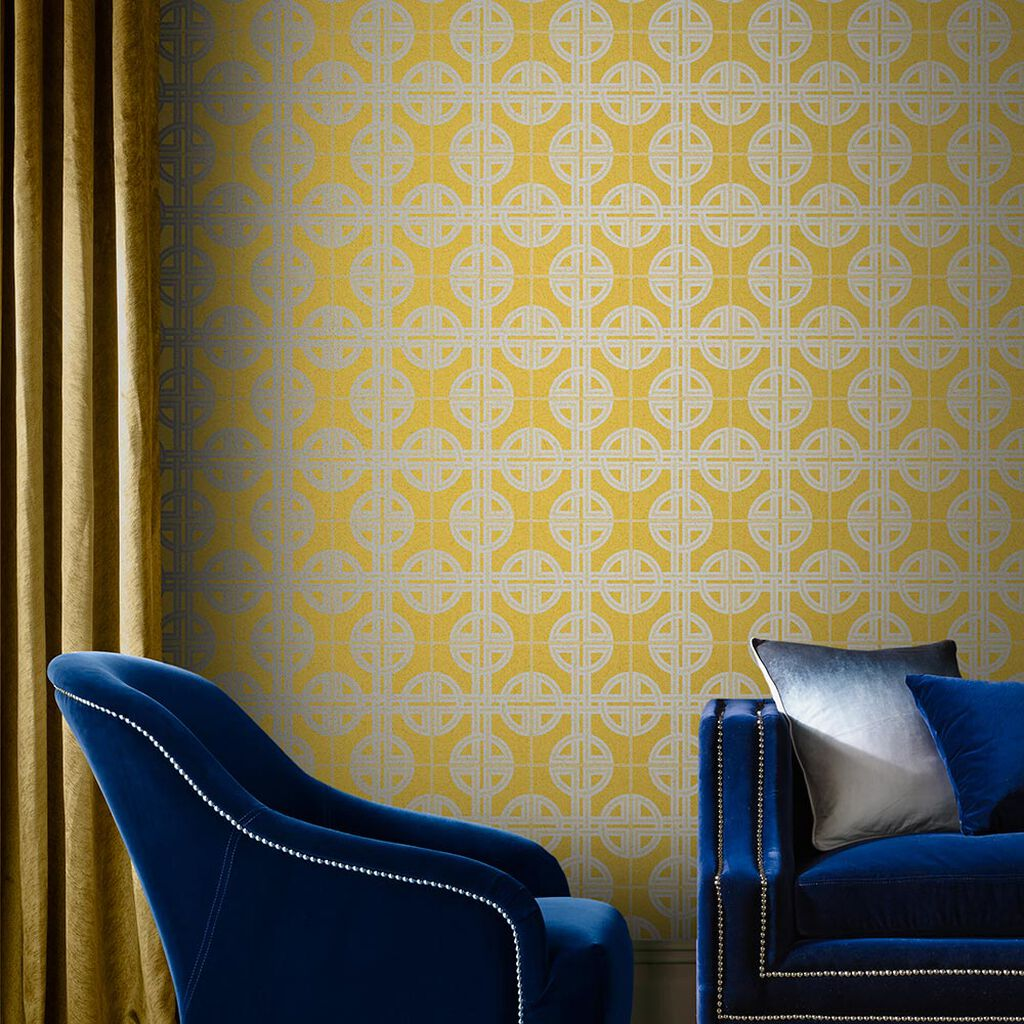Asian Lattice Saffron Wallpaper, , large