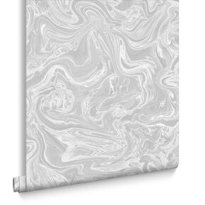 Marbled Grey and White Wallpaper, , large
