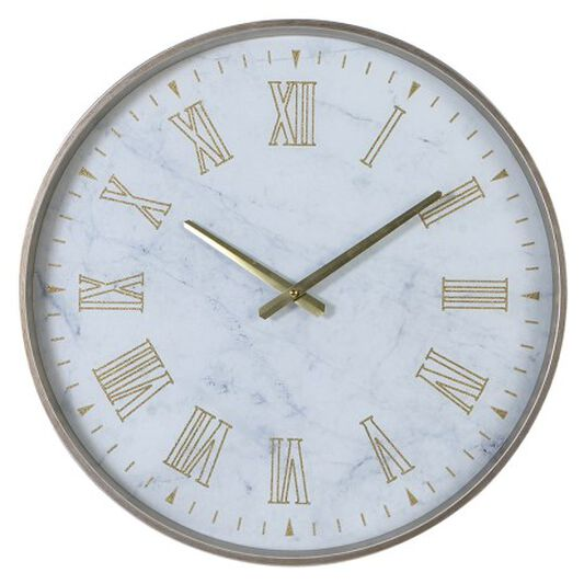White & Gold Marbled Wall Clock, , large