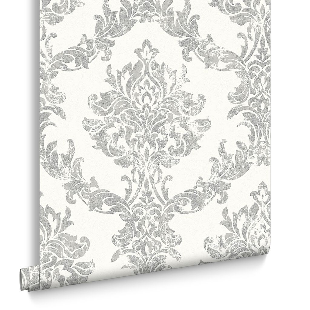 Opal Damask White And Silver Wallpaper