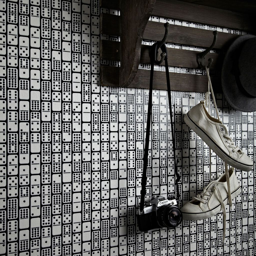 Domino Black and White Wallpaper, , large